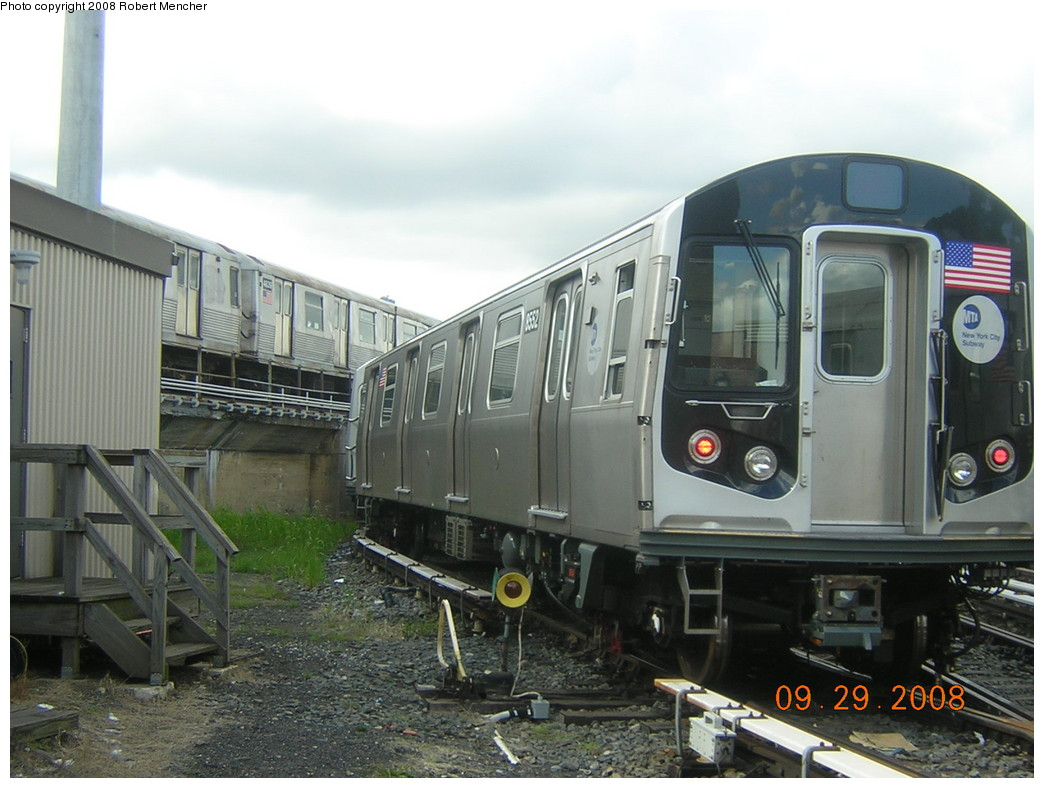 (228k, 1044x788)<br><b>Country:</b> United States<br><b>City:</b> New York<br><b>System:</b> New York City Transit<br><b>Location:</b> East New York Yard/Shops<br><b>Car:</b> R-160A-1 (Alstom, 2005-2008, 4 car sets)  8552 <br><b>Photo by:</b> Robert Mencher<br><b>Date:</b> 9/29/2008<br><b>Viewed (this week/total):</b> 3 / 854