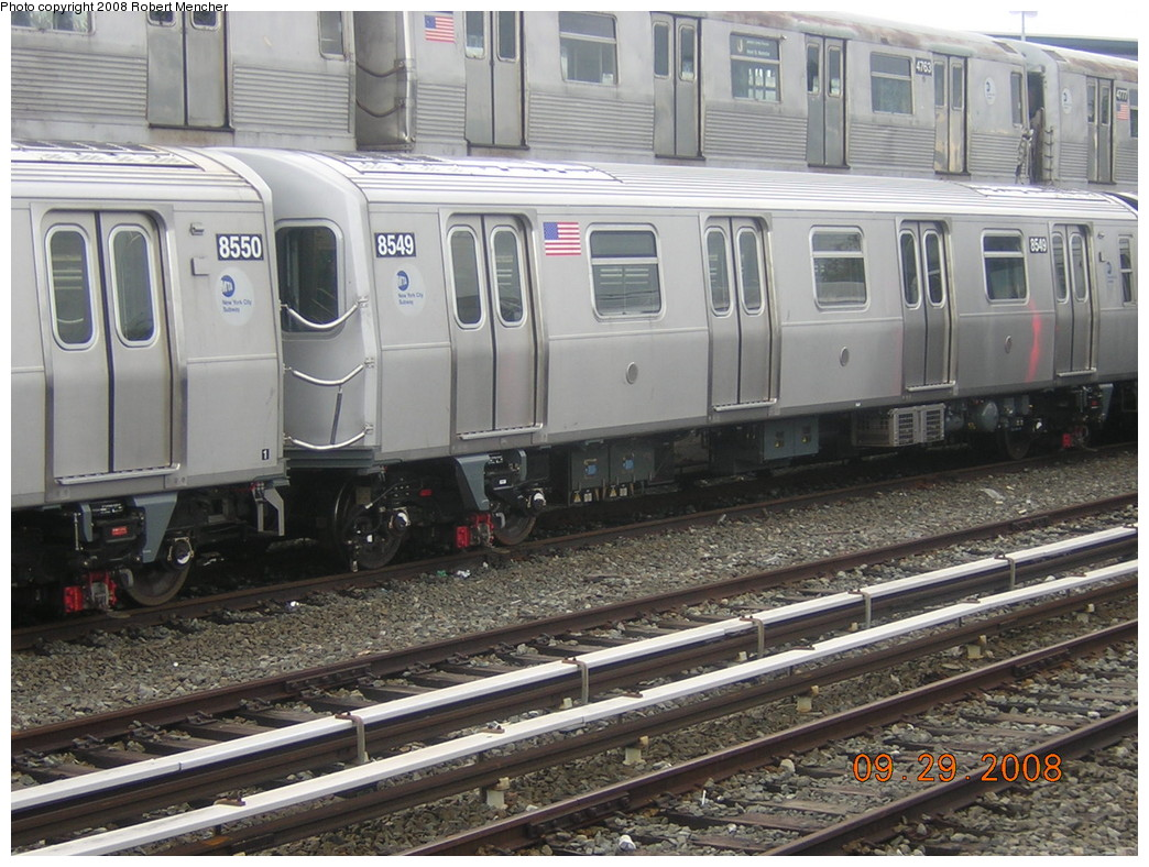 (276k, 1044x788)<br><b>Country:</b> United States<br><b>City:</b> New York<br><b>System:</b> New York City Transit<br><b>Location:</b> East New York Yard/Shops<br><b>Car:</b> R-160A-1 (Alstom, 2005-2008, 4 car sets)  8549 <br><b>Photo by:</b> Robert Mencher<br><b>Date:</b> 9/29/2008<br><b>Viewed (this week/total):</b> 4 / 1385