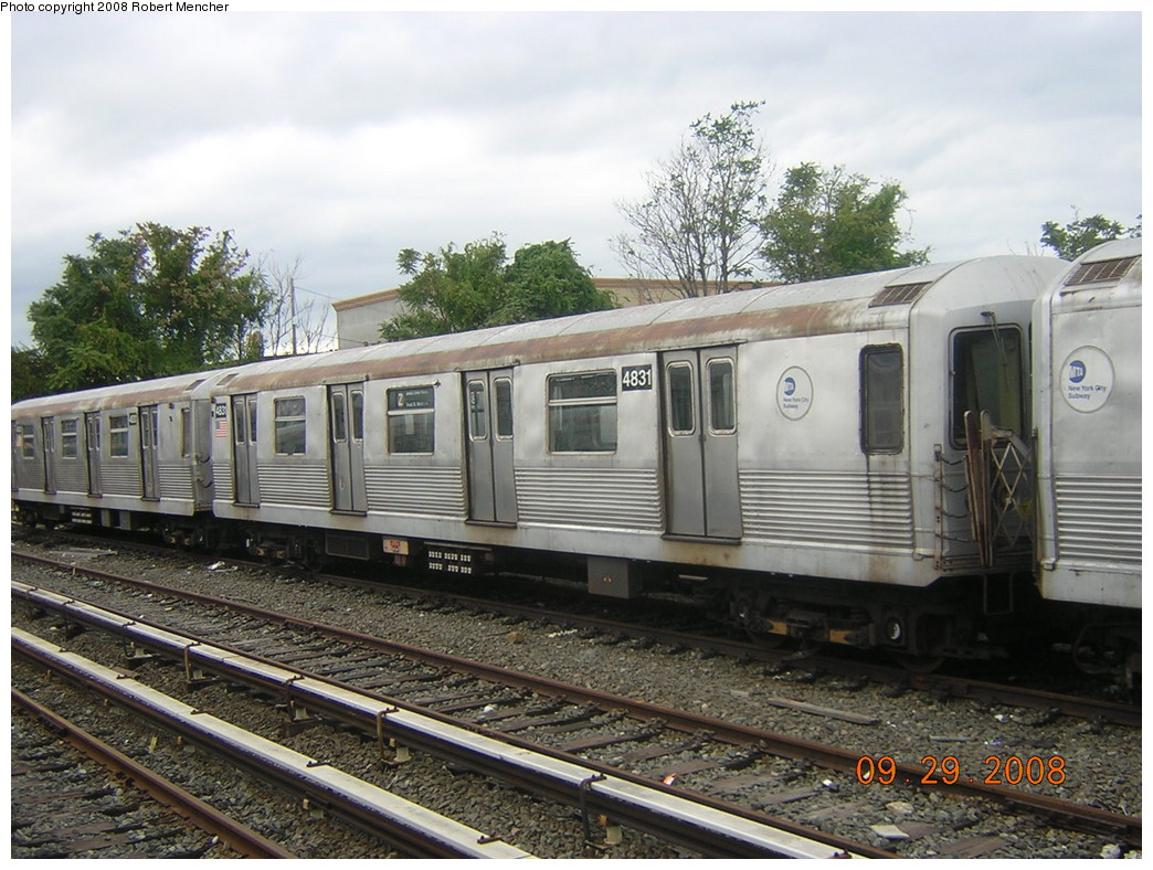 (273k, 1044x788)<br><b>Country:</b> United States<br><b>City:</b> New York<br><b>System:</b> New York City Transit<br><b>Location:</b> East New York Yard/Shops<br><b>Car:</b> R-42 (St. Louis, 1969-1970)  4831 <br><b>Photo by:</b> Robert Mencher<br><b>Date:</b> 9/29/2008<br><b>Viewed (this week/total):</b> 0 / 709
