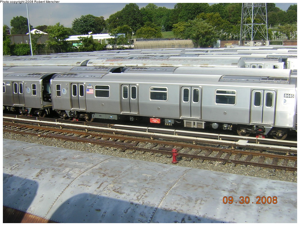 (307k, 1044x788)<br><b>Country:</b> United States<br><b>City:</b> New York<br><b>System:</b> New York City Transit<br><b>Location:</b> East New York Yard/Shops<br><b>Car:</b> R-160A-1 (Alstom, 2005-2008, 4 car sets)  8445 <br><b>Photo by:</b> Robert Mencher<br><b>Date:</b> 9/30/2008<br><b>Viewed (this week/total):</b> 3 / 1117