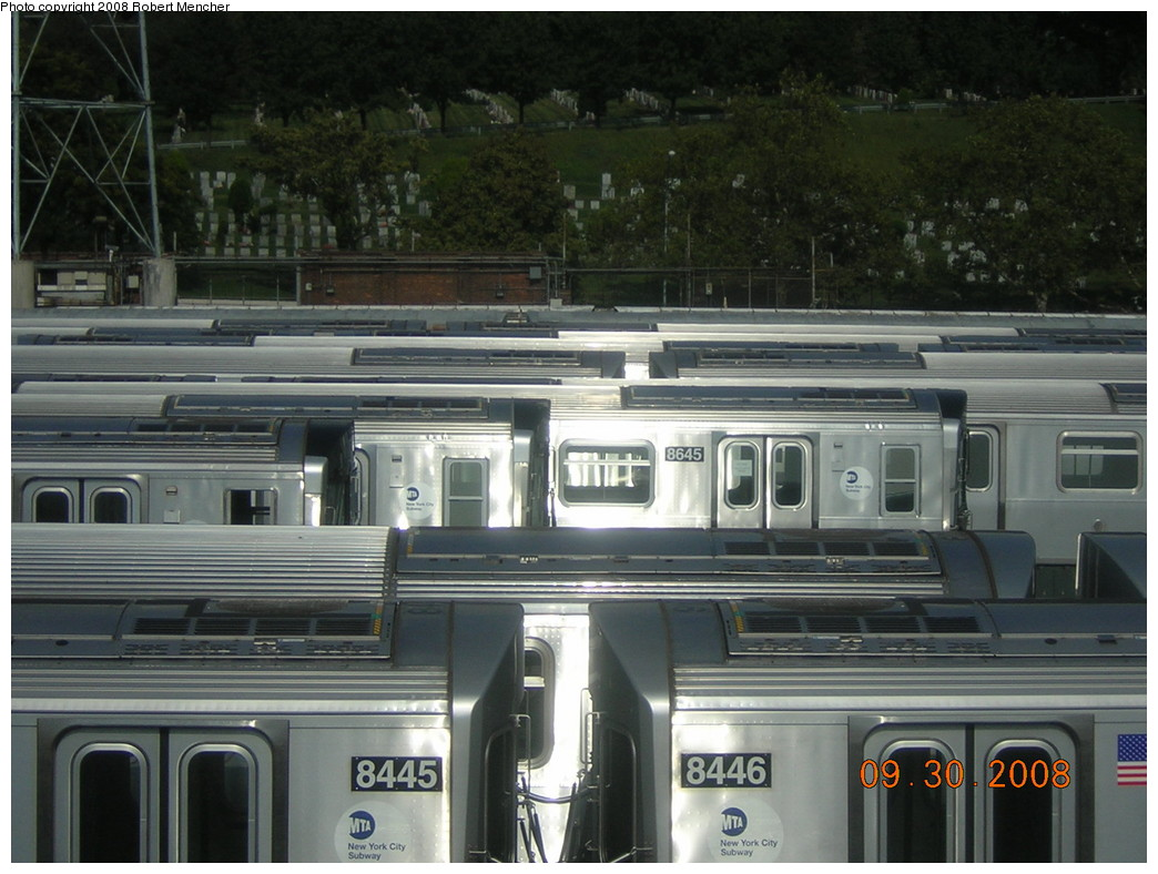 (240k, 1044x788)<br><b>Country:</b> United States<br><b>City:</b> New York<br><b>System:</b> New York City Transit<br><b>Location:</b> East New York Yard/Shops<br><b>Car:</b> R-160A-1 (Alstom, 2005-2008, 4 car sets)  8445/8446 <br><b>Photo by:</b> Robert Mencher<br><b>Date:</b> 9/30/2008<br><b>Viewed (this week/total):</b> 1 / 1304