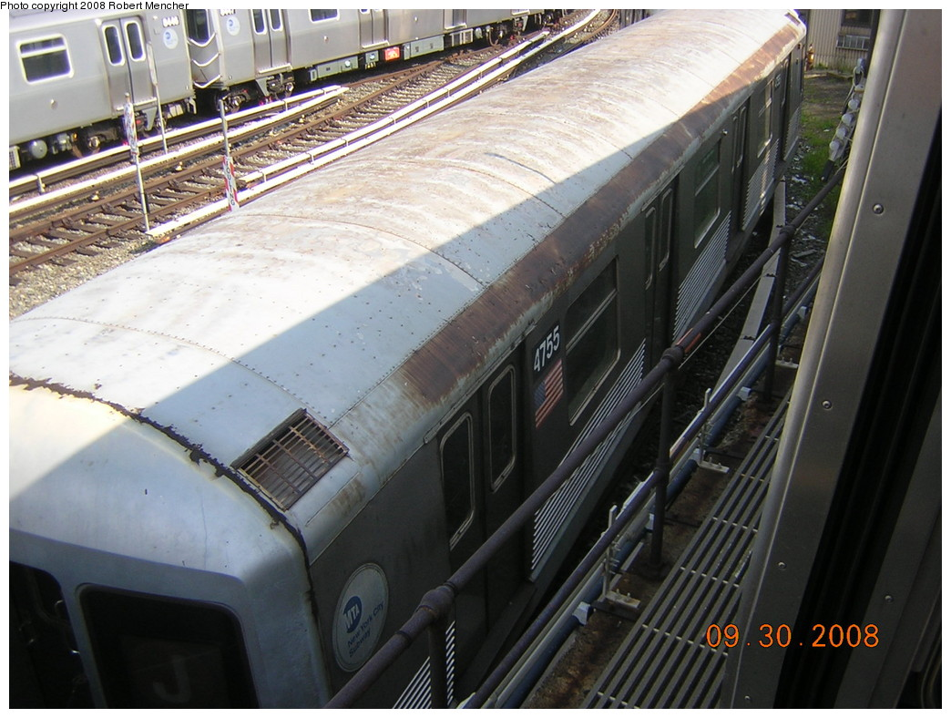 (258k, 1044x788)<br><b>Country:</b> United States<br><b>City:</b> New York<br><b>System:</b> New York City Transit<br><b>Location:</b> East New York Yard/Shops<br><b>Car:</b> R-42 (St. Louis, 1969-1970)  4755 <br><b>Photo by:</b> Robert Mencher<br><b>Date:</b> 9/30/2008<br><b>Viewed (this week/total):</b> 0 / 774