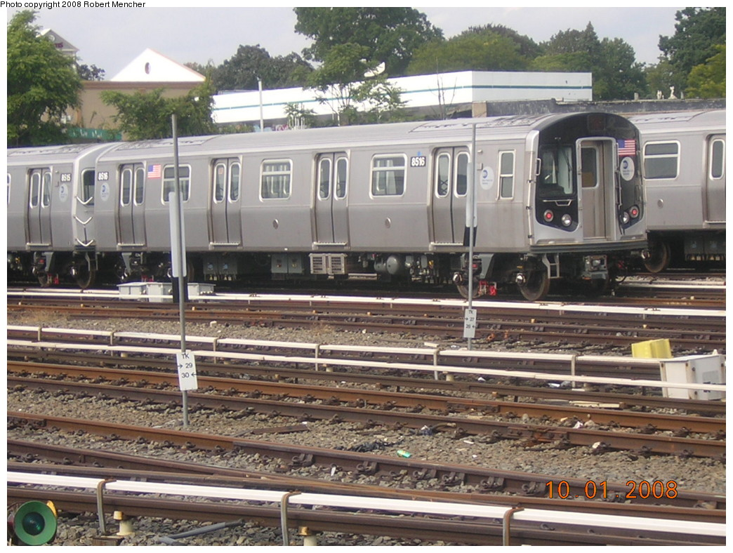 (282k, 1044x788)<br><b>Country:</b> United States<br><b>City:</b> New York<br><b>System:</b> New York City Transit<br><b>Location:</b> East New York Yard/Shops<br><b>Car:</b> R-160A-1 (Alstom, 2005-2008, 4 car sets)  8516 <br><b>Photo by:</b> Robert Mencher<br><b>Date:</b> 10/1/2008<br><b>Viewed (this week/total):</b> 1 / 653