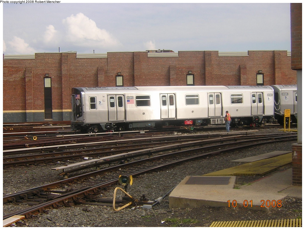 (270k, 1044x788)<br><b>Country:</b> United States<br><b>City:</b> New York<br><b>System:</b> New York City Transit<br><b>Location:</b> East New York Yard/Shops<br><b>Car:</b> R-160A-1 (Alstom, 2005-2008, 4 car sets)  8585 <br><b>Photo by:</b> Robert Mencher<br><b>Date:</b> 10/1/2008<br><b>Viewed (this week/total):</b> 0 / 878