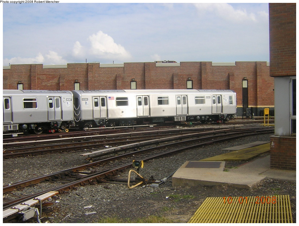 (276k, 1044x788)<br><b>Country:</b> United States<br><b>City:</b> New York<br><b>System:</b> New York City Transit<br><b>Location:</b> East New York Yard/Shops<br><b>Car:</b> R-160A-1 (Alstom, 2005-2008, 4 car sets)  8588 <br><b>Photo by:</b> Robert Mencher<br><b>Date:</b> 10/1/2008<br><b>Viewed (this week/total):</b> 4 / 1268