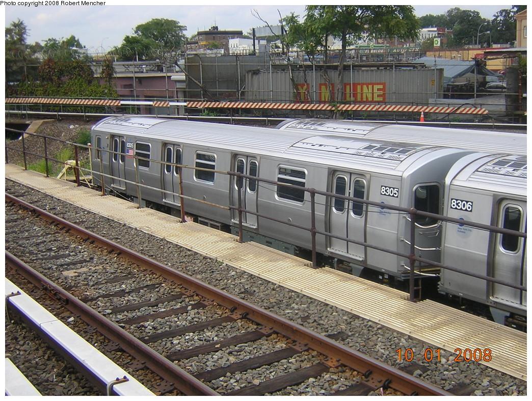 (348k, 1044x788)<br><b>Country:</b> United States<br><b>City:</b> New York<br><b>System:</b> New York City Transit<br><b>Location:</b> East New York Yard/Shops<br><b>Car:</b> R-143 (Kawasaki, 2001-2002) 8305 <br><b>Photo by:</b> Robert Mencher<br><b>Date:</b> 10/1/2008<br><b>Viewed (this week/total):</b> 1 / 1498