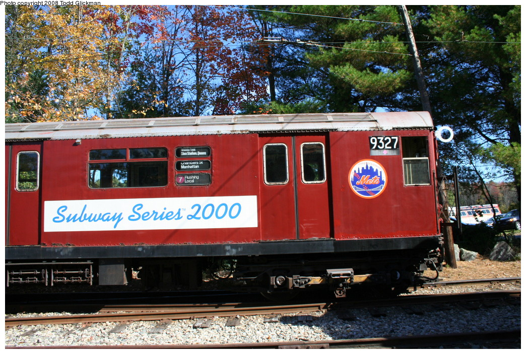 (337k, 1044x703)<br><b>Country:</b> United States<br><b>City:</b> Kennebunk, ME<br><b>System:</b> Seashore Trolley Museum <br><b>Car:</b> R-33 World's Fair (St. Louis, 1963-64) 9327 <br><b>Photo by:</b> Todd Glickman<br><b>Date:</b> 10/11/2008<br><b>Viewed (this week/total):</b> 0 / 490