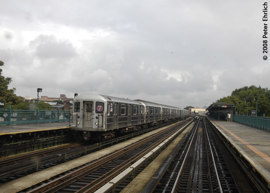 (176k, 930x667)<br><b>Country:</b> United States<br><b>City:</b> New York<br><b>System:</b> New York City Transit<br><b>Line:</b> IRT Flushing Line<br><b>Location:</b> 103rd Street/Corona Plaza <br><b>Route:</b> 7<br><b>Car:</b> R-62A (Bombardier, 1984-1987)  1716 <br><b>Photo by:</b> Peter Ehrlich<br><b>Date:</b> 9/28/2008<br><b>Notes:</b> 103 St-Corona Plaza, inbound train.<br><b>Viewed (this week/total):</b> 0 / 1210