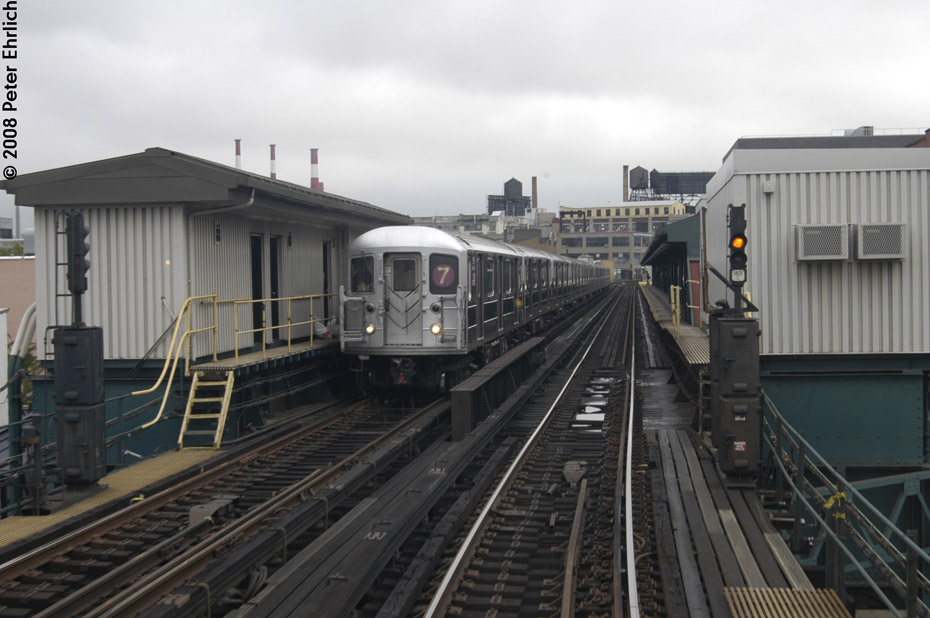 (171k, 930x618)<br><b>Country:</b> United States<br><b>City:</b> New York<br><b>System:</b> New York City Transit<br><b>Line:</b> IRT Flushing Line<br><b>Location:</b> Court House Square/45th Road <br><b>Route:</b> 7<br><b>Car:</b> R-62A (Bombardier, 1984-1987)  1805 <br><b>Photo by:</b> Peter Ehrlich<br><b>Date:</b> 9/28/2008<br><b>Notes:</b> Inbound.<br><b>Viewed (this week/total):</b> 0 / 873