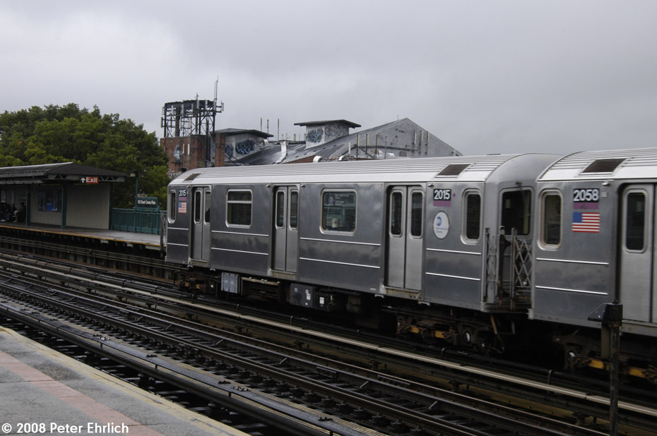(173k, 930x618)<br><b>Country:</b> United States<br><b>City:</b> New York<br><b>System:</b> New York City Transit<br><b>Line:</b> IRT Flushing Line<br><b>Location:</b> 103rd Street/Corona Plaza <br><b>Route:</b> 7<br><b>Car:</b> R-62A (Bombardier, 1984-1987)  2015 <br><b>Photo by:</b> Peter Ehrlich<br><b>Date:</b> 9/28/2008<br><b>Notes:</b> 103 St-Corona Plaza, inbound train.<br><b>Viewed (this week/total):</b> 2 / 1402