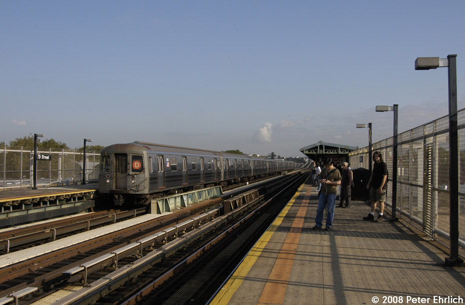 (177k, 930x610)<br><b>Country:</b> United States<br><b>City:</b> New York<br><b>System:</b> New York City Transit<br><b>Line:</b> BMT West End Line<br><b>Location:</b> 79th Street <br><b>Route:</b> D<br><b>Car:</b> R-68 (Westinghouse-Amrail, 1986-1988)  2506 <br><b>Photo by:</b> Peter Ehrlich<br><b>Date:</b> 9/30/2008<br><b>Notes:</b> Outbound train.<br><b>Viewed (this week/total):</b> 1 / 1053
