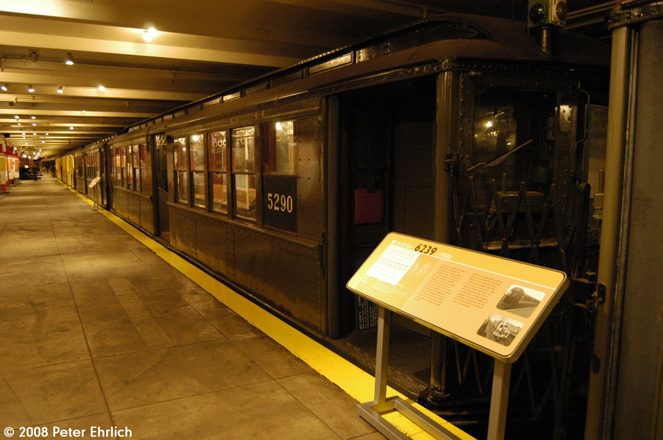 (208k, 930x618)<br><b>Country:</b> United States<br><b>City:</b> New York<br><b>System:</b> New York City Transit<br><b>Location:</b> New York Transit Museum<br><b>Car:</b> Low-V (Museum Train) 5290 <br><b>Photo by:</b> Peter Ehrlich<br><b>Date:</b> 9/30/2008<br><b>Notes:</b> IRT Lo-V 5290.<br><b>Viewed (this week/total):</b> 0 / 903