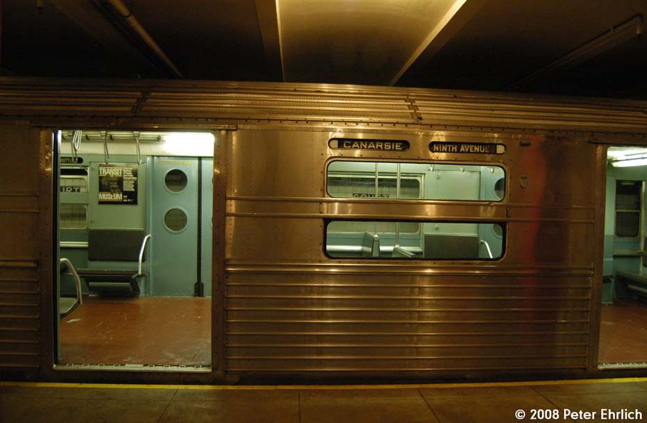 (189k, 930x608)<br><b>Country:</b> United States<br><b>City:</b> New York<br><b>System:</b> New York City Transit<br><b>Location:</b> New York Transit Museum<br><b>Car:</b> R-11 (Budd, 1949) 8013 <br><b>Photo by:</b> Peter Ehrlich<br><b>Date:</b> 9/30/2008<br><b>Notes:</b> Exterior window of R11 8013.<br><b>Viewed (this week/total):</b> 7 / 1376