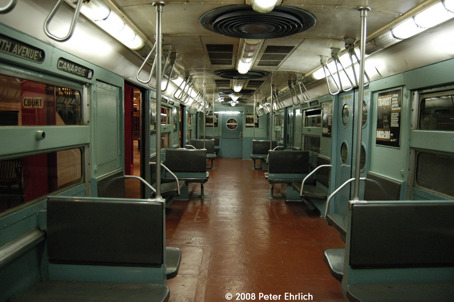 (206k, 930x618)<br><b>Country:</b> United States<br><b>City:</b> New York<br><b>System:</b> New York City Transit<br><b>Location:</b> New York Transit Museum<br><b>Car:</b> R-11 (Budd, 1949) 8013 <br><b>Photo by:</b> Peter Ehrlich<br><b>Date:</b> 9/30/2008<br><b>Notes:</b> Interior of R11 8013.<br><b>Viewed (this week/total):</b> 1 / 1450
