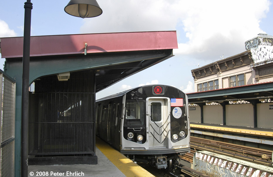 (191k, 930x604)<br><b>Country:</b> United States<br><b>City:</b> New York<br><b>System:</b> New York City Transit<br><b>Line:</b> BMT Nassau Street/Jamaica Line<br><b>Location:</b> Hewes Street <br><b>Route:</b> M<br><b>Car:</b> R-160A-1 (Alstom, 2005-2008, 4 car sets)  8365 <br><b>Photo by:</b> Peter Ehrlich<br><b>Date:</b> 9/30/2008<br><b>Notes:</b> Outbound train.<br><b>Viewed (this week/total):</b> 1 / 776