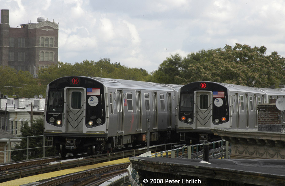 (186k, 930x606)<br><b>Country:</b> United States<br><b>City:</b> New York<br><b>System:</b> New York City Transit<br><b>Line:</b> BMT Myrtle Avenue Line<br><b>Location:</b> Seneca Avenue <br><b>Route:</b> M<br><b>Car:</b> R-160A-1 (Alstom, 2005-2008, 4 car sets)  8381 <br><b>Photo by:</b> Peter Ehrlich<br><b>Date:</b> 9/30/2008<br><b>Notes:</b> Approaching Seneca Avenue inbound.  Wtih 8341 outbound.<br><b>Viewed (this week/total):</b> 1 / 1176