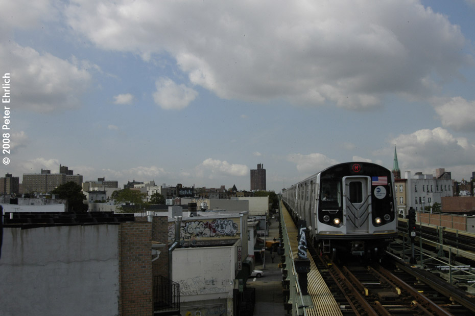 (139k, 930x618)<br><b>Country:</b> United States<br><b>City:</b> New York<br><b>System:</b> New York City Transit<br><b>Line:</b> BMT Myrtle Avenue Line<br><b>Location:</b> Central Avenue <br><b>Route:</b> M<br><b>Car:</b> R-160A-1 (Alstom, 2005-2008, 4 car sets)  8417 <br><b>Photo by:</b> Peter Ehrlich<br><b>Date:</b> 9/30/2008<br><b>Notes:</b> Outbound train.<br><b>Viewed (this week/total):</b> 0 / 1032