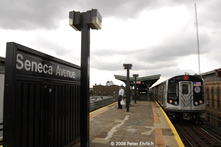 (151k, 930x618)<br><b>Country:</b> United States<br><b>City:</b> New York<br><b>System:</b> New York City Transit<br><b>Line:</b> BMT Myrtle Avenue Line<br><b>Location:</b> Seneca Avenue <br><b>Route:</b> M<br><b>Car:</b> R-160A-1 (Alstom, 2005-2008, 4 car sets)  8417 <br><b>Photo by:</b> Peter Ehrlich<br><b>Date:</b> 9/30/2008<br><b>Notes:</b> Inbound train.<br><b>Viewed (this week/total):</b> 0 / 791