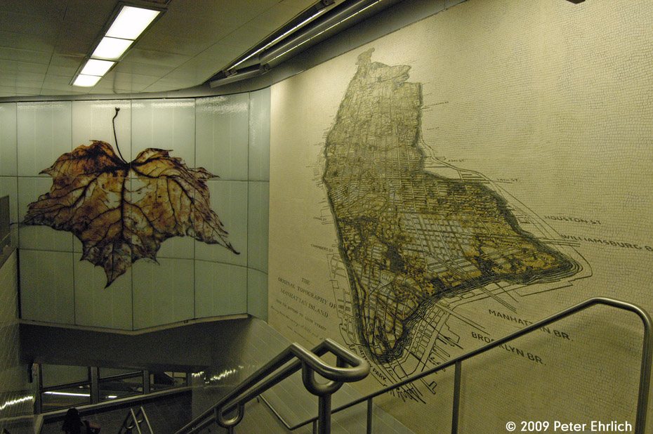 (247k, 930x618)<br><b>Country:</b> United States<br><b>City:</b> New York<br><b>System:</b> New York City Transit<br><b>Line:</b> IRT West Side Line<br><b>Location:</b> South Ferry (New Station) <br><b>Photo by:</b> Peter Ehrlich<br><b>Date:</b> 7/22/2009<br><b>Artwork:</b> <i>See It Split, See It Change</i>,  Doug Starn/Mike Starn (2007).<br><b>Viewed (this week/total):</b> 2 / 467