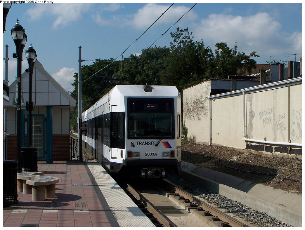 (238k, 1044x788)<br><b>Country:</b> United States<br><b>City:</b> Bayonne, NJ<br><b>System:</b> Hudson Bergen Light Rail<br><b>Location:</b> East 34th Street <br><b>Car:</b> NJT-HBLR LRV (Kinki-Sharyo, 1998-99)  2033 <br><b>Photo by:</b> Chris Reidy<br><b>Date:</b> 9/24/2008<br><b>Viewed (this week/total):</b> 1 / 444