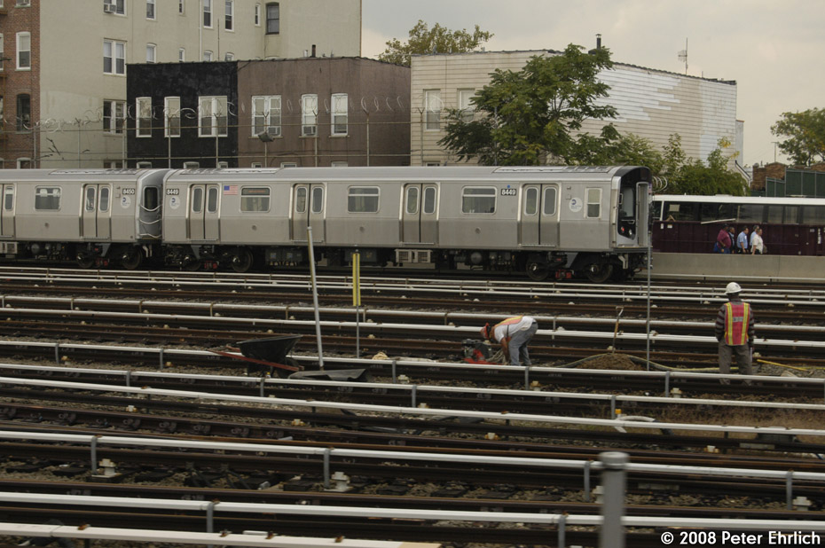 (219k, 930x618)<br><b>Country:</b> United States<br><b>City:</b> New York<br><b>System:</b> New York City Transit<br><b>Location:</b> Fresh Pond Yard<br><b>Car:</b> R-160A-1 (Alstom, 2005-2008, 4 car sets)  8449 <br><b>Photo by:</b> Peter Ehrlich<br><b>Date:</b> 9/30/2008<br><b>Viewed (this week/total):</b> 0 / 1789