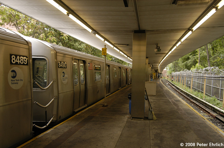 (219k, 930x618)<br><b>Country:</b> United States<br><b>City:</b> New York<br><b>System:</b> New York City Transit<br><b>Line:</b> BMT Myrtle Avenue Line<br><b>Location:</b> Metropolitan Avenue <br><b>Route:</b> M<br><b>Car:</b> R-160A-1 (Alstom, 2005-2008, 4 car sets)  8490 <br><b>Photo by:</b> Peter Ehrlich<br><b>Date:</b> 9/30/2008<br><b>Viewed (this week/total):</b> 2 / 2053