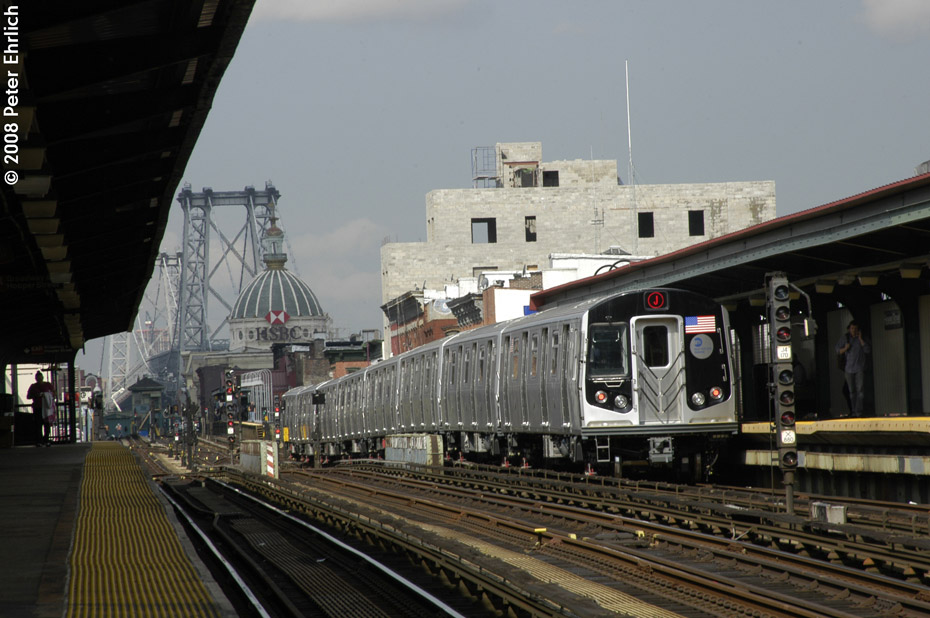 (192k, 930x618)<br><b>Country:</b> United States<br><b>City:</b> New York<br><b>System:</b> New York City Transit<br><b>Line:</b> BMT Nassau Street/Jamaica Line<br><b>Location:</b> Hewes Street <br><b>Route:</b> J<br><b>Car:</b> R-160A-1 (Alstom, 2005-2008, 4 car sets)  8649 <br><b>Photo by:</b> Peter Ehrlich<br><b>Date:</b> 9/30/2008<br><b>Notes:</b> Inbound train.<br><b>Viewed (this week/total):</b> 3 / 789
