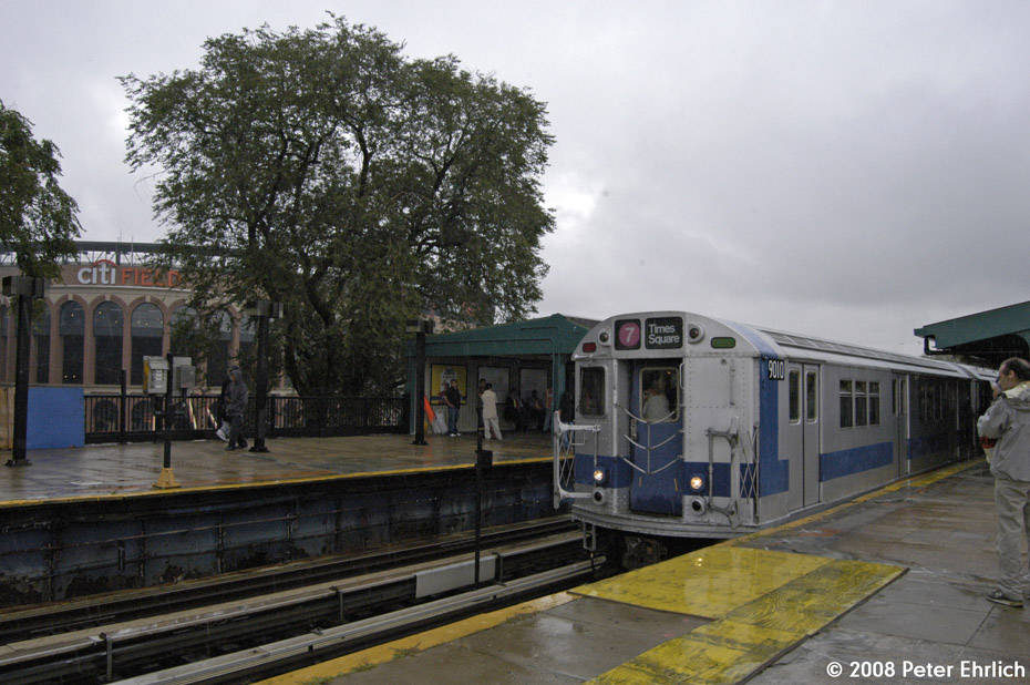 (206k, 930x618)<br><b>Country:</b> United States<br><b>City:</b> New York<br><b>System:</b> New York City Transit<br><b>Line:</b> IRT Flushing Line<br><b>Location:</b> Willets Point/Mets (fmr. Shea Stadium) <br><b>Route:</b> Museum Train Service (7)<br><b>Car:</b> R-33 Main Line (St. Louis, 1962-63) 9010 <br><b>Photo by:</b> Peter Ehrlich<br><b>Date:</b> 9/28/2008<br><b>Viewed (this week/total):</b> 0 / 955