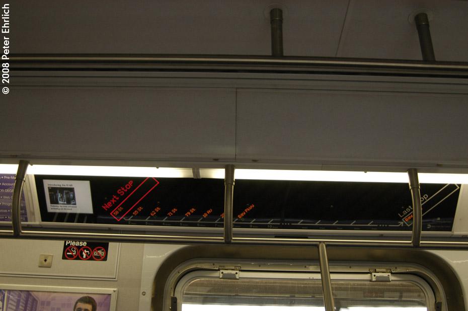 (143k, 930x618)<br><b>Country:</b> United States<br><b>City:</b> New York<br><b>System:</b> New York City Transit<br><b>Route:</b> M<br><b>Car:</b> R-160A-1 (Alstom, 2005-2008, 4 car sets)  Interior <br><b>Photo by:</b> Peter Ehrlich<br><b>Date:</b> 9/30/2008<br><b>Notes:</b> R160 line maps.<br><b>Viewed (this week/total):</b> 1 / 1231