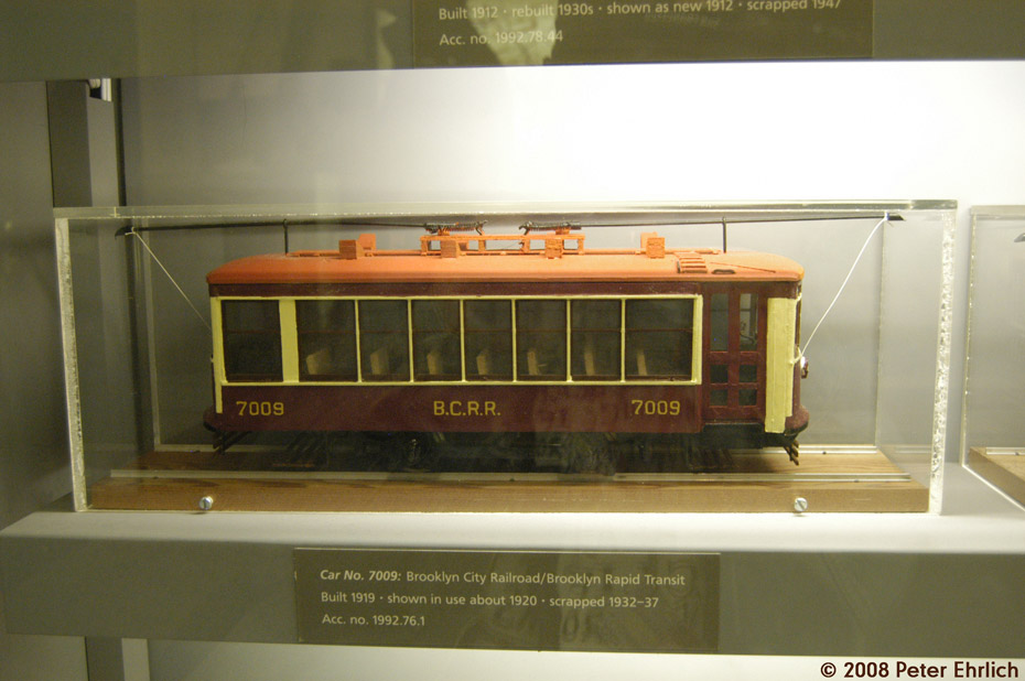 (156k, 930x618)<br><b>Country:</b> United States<br><b>City:</b> New York<br><b>System:</b> New York City Transit<br><b>Location:</b> New York Transit Museum<br><b>Photo by:</b> Peter Ehrlich<br><b>Date:</b> 9/30/2008<br><b>Notes:</b> Brooklyn Birney Safety Car model.<br><b>Viewed (this week/total):</b> 0 / 1313
