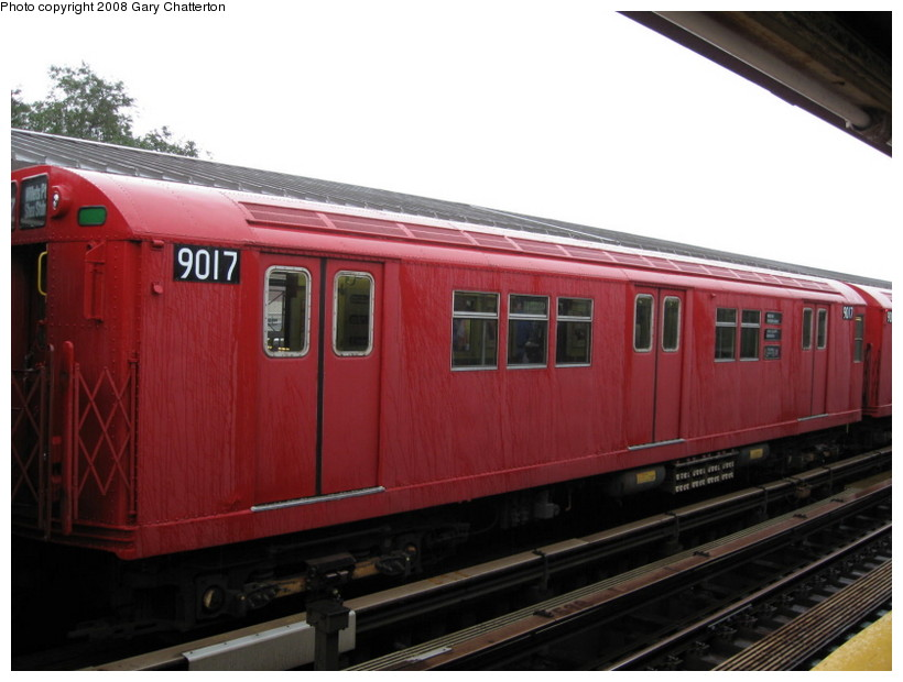 (108k, 820x620)<br><b>Country:</b> United States<br><b>City:</b> New York<br><b>System:</b> New York City Transit<br><b>Line:</b> IRT Flushing Line<br><b>Location:</b> Willets Point/Mets (fmr. Shea Stadium) <br><b>Route:</b> Museum Train Service (7)<br><b>Car:</b> R-33 Main Line (St. Louis, 1962-63) 9017 <br><b>Photo by:</b> Gary Chatterton<br><b>Date:</b> 9/28/2008<br><b>Viewed (this week/total):</b> 2 / 859