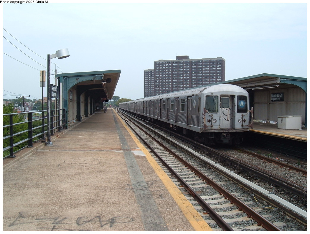 (239k, 1044x788)<br><b>Country:</b> United States<br><b>City:</b> New York<br><b>System:</b> New York City Transit<br><b>Line:</b> IND Rockaway<br><b>Location:</b> Beach 36th Street/Edgemere <br><b>Route:</b> A<br><b>Car:</b> R-42 (St. Louis, 1969-1970)   <br><b>Photo by:</b> Chris M.<br><b>Date:</b> 7/22/2008<br><b>Viewed (this week/total):</b> 4 / 924