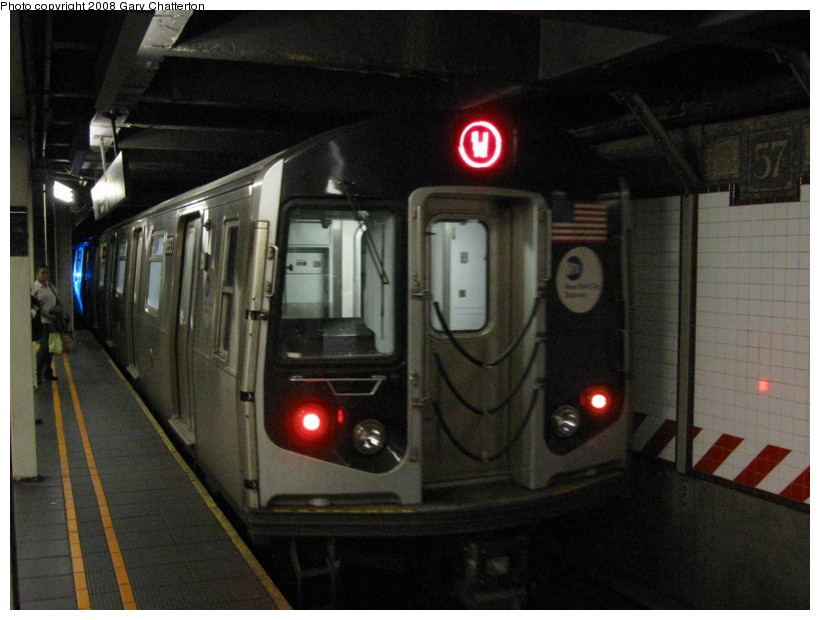 (120k, 820x620)<br><b>Country:</b> United States<br><b>City:</b> New York<br><b>System:</b> New York City Transit<br><b>Line:</b> BMT Broadway Line<br><b>Location:</b> 57th Street <br><b>Route:</b> W<br><b>Car:</b> R-160A-2 (Alstom, 2005-2008, 5 car sets)  8653 <br><b>Photo by:</b> Gary Chatterton<br><b>Date:</b> 10/9/2008<br><b>Viewed (this week/total):</b> 1 / 1747