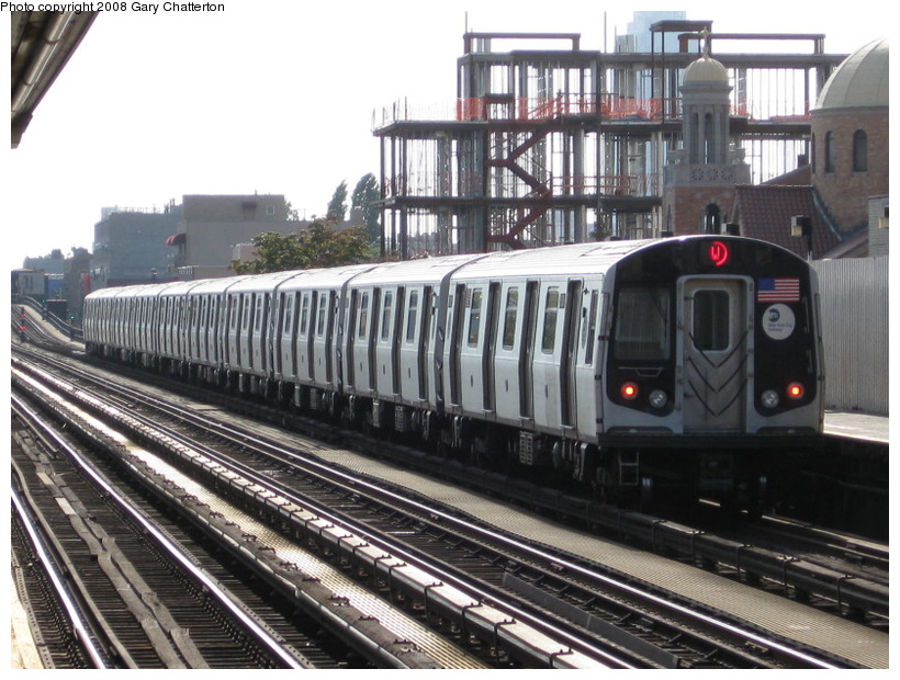 (158k, 820x620)<br><b>Country:</b> United States<br><b>City:</b> New York<br><b>System:</b> New York City Transit<br><b>Line:</b> BMT Astoria Line<br><b>Location:</b> 30th/Grand Aves. <br><b>Route:</b> N<br><b>Car:</b> R-160B (Kawasaki, 2005-2008)  8808 <br><b>Photo by:</b> Gary Chatterton<br><b>Date:</b> 10/14/2008<br><b>Viewed (this week/total):</b> 3 / 1293