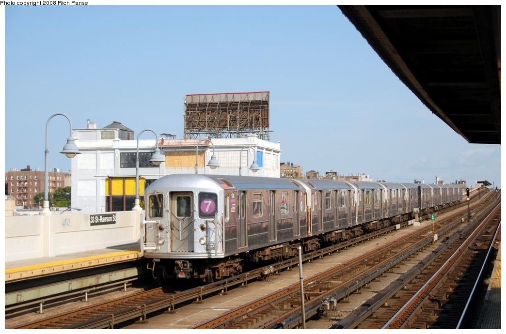 (165k, 1044x690)<br><b>Country:</b> United States<br><b>City:</b> New York<br><b>System:</b> New York City Transit<br><b>Line:</b> IRT Flushing Line<br><b>Location:</b> 33rd Street/Rawson Street <br><b>Route:</b> 7<br><b>Car:</b> R-62A (Bombardier, 1984-1987)  1741 <br><b>Photo by:</b> Richard Panse<br><b>Date:</b> 9/24/2008<br><b>Viewed (this week/total):</b> 2 / 1013