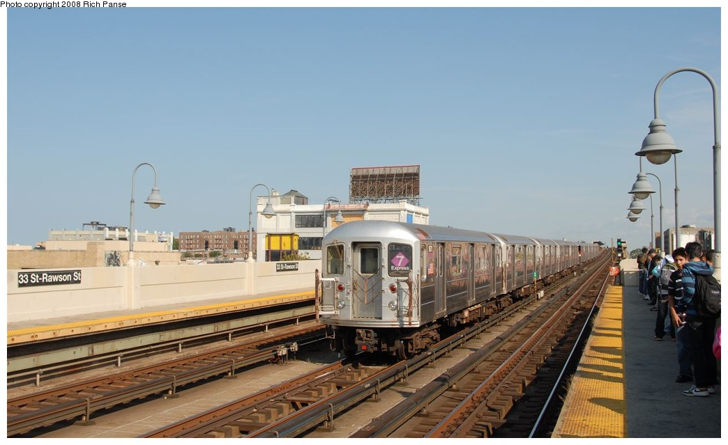 (143k, 1044x639)<br><b>Country:</b> United States<br><b>City:</b> New York<br><b>System:</b> New York City Transit<br><b>Line:</b> IRT Flushing Line<br><b>Location:</b> 33rd Street/Rawson Street <br><b>Route:</b> 7<br><b>Car:</b> R-62A (Bombardier, 1984-1987)  1671 <br><b>Photo by:</b> Richard Panse<br><b>Date:</b> 9/24/2008<br><b>Viewed (this week/total):</b> 1 / 1275