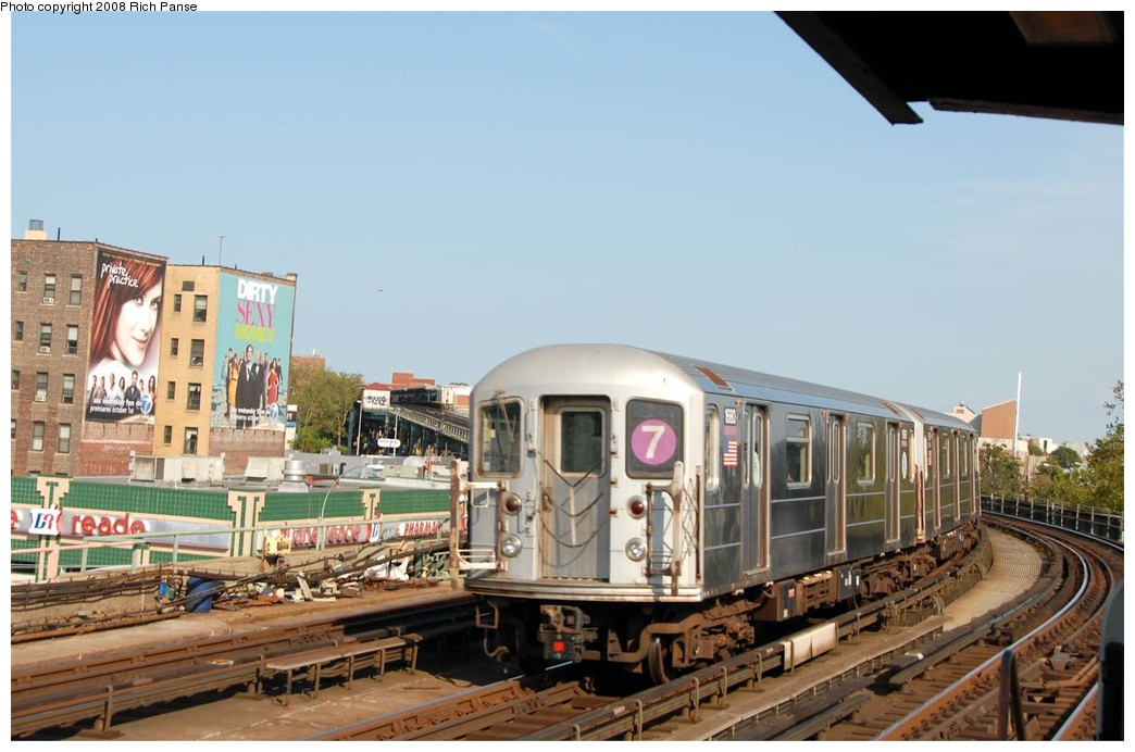 (164k, 1044x692)<br><b>Country:</b> United States<br><b>City:</b> New York<br><b>System:</b> New York City Transit<br><b>Line:</b> IRT Flushing Line<br><b>Location:</b> 33rd Street/Rawson Street <br><b>Route:</b> 7<br><b>Car:</b> R-62A (Bombardier, 1984-1987)  1680 <br><b>Photo by:</b> Richard Panse<br><b>Date:</b> 9/24/2008<br><b>Viewed (this week/total):</b> 3 / 764