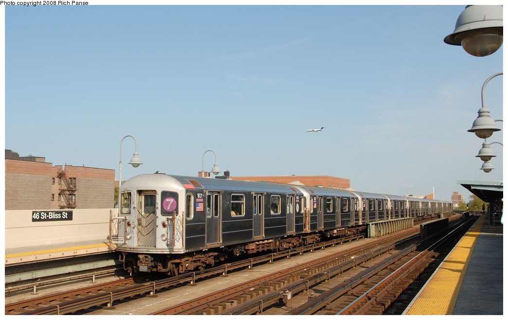(138k, 1044x658)<br><b>Country:</b> United States<br><b>City:</b> New York<br><b>System:</b> New York City Transit<br><b>Line:</b> IRT Flushing Line<br><b>Location:</b> 46th Street/Bliss Street <br><b>Route:</b> 7<br><b>Car:</b> R-62A (Bombardier, 1984-1987)  1831 <br><b>Photo by:</b> Richard Panse<br><b>Date:</b> 9/24/2008<br><b>Viewed (this week/total):</b> 2 / 533