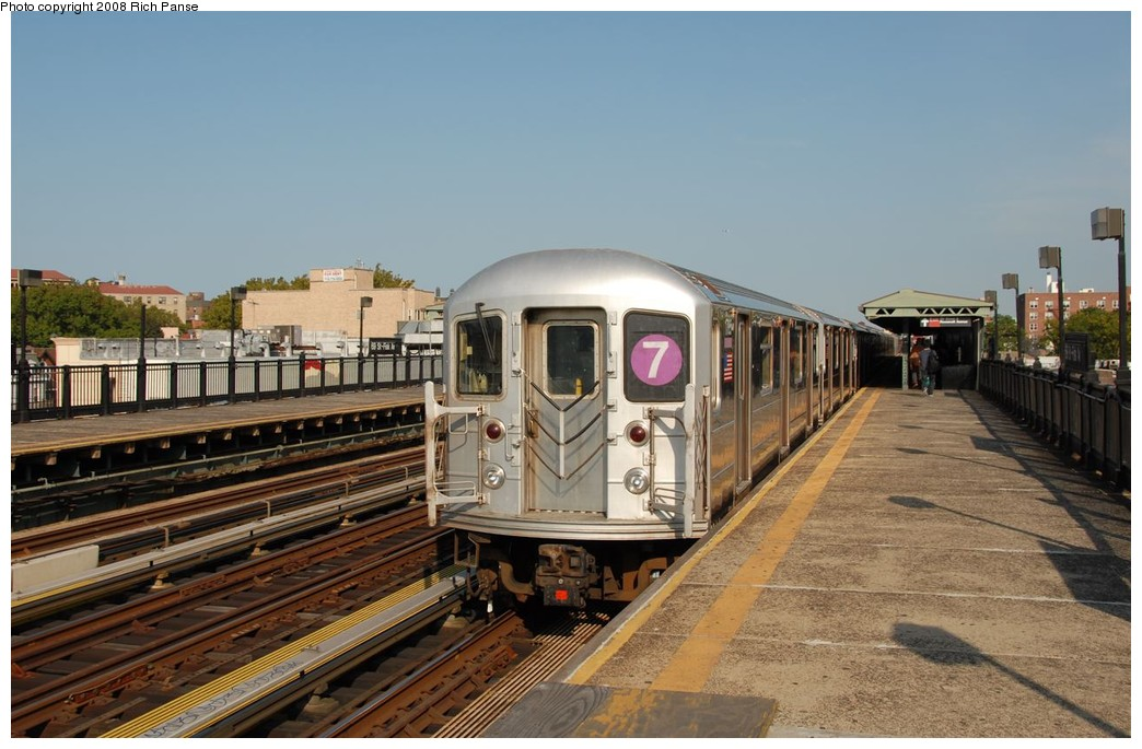 (181k, 1044x685)<br><b>Country:</b> United States<br><b>City:</b> New York<br><b>System:</b> New York City Transit<br><b>Line:</b> IRT Flushing Line<br><b>Location:</b> 69th Street/Fisk Avenue <br><b>Route:</b> 7<br><b>Car:</b> R-62A (Bombardier, 1984-1987)  1785 <br><b>Photo by:</b> Richard Panse<br><b>Date:</b> 9/24/2008<br><b>Viewed (this week/total):</b> 5 / 741