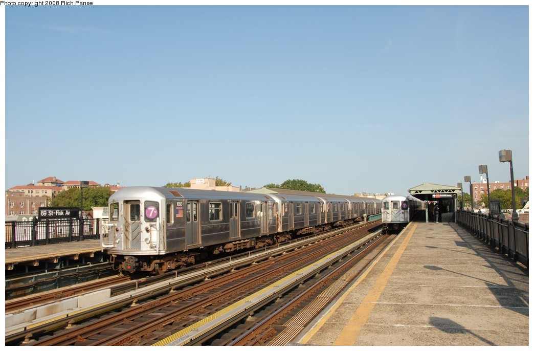 (158k, 1044x686)<br><b>Country:</b> United States<br><b>City:</b> New York<br><b>System:</b> New York City Transit<br><b>Line:</b> IRT Flushing Line<br><b>Location:</b> 69th Street/Fisk Avenue <br><b>Route:</b> 7<br><b>Car:</b> R-62A (Bombardier, 1984-1987)  1666 <br><b>Photo by:</b> Richard Panse<br><b>Date:</b> 9/24/2008<br><b>Viewed (this week/total):</b> 1 / 582
