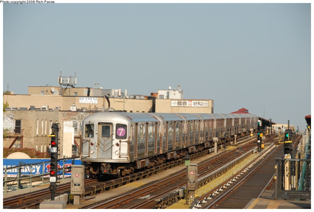 (193k, 1044x706)<br><b>Country:</b> United States<br><b>City:</b> New York<br><b>System:</b> New York City Transit<br><b>Line:</b> IRT Flushing Line<br><b>Location:</b> 69th Street/Fisk Avenue <br><b>Route:</b> 7<br><b>Car:</b> R-62A (Bombardier, 1984-1987)  1802 <br><b>Photo by:</b> Richard Panse<br><b>Date:</b> 9/24/2008<br><b>Viewed (this week/total):</b> 15 / 1150