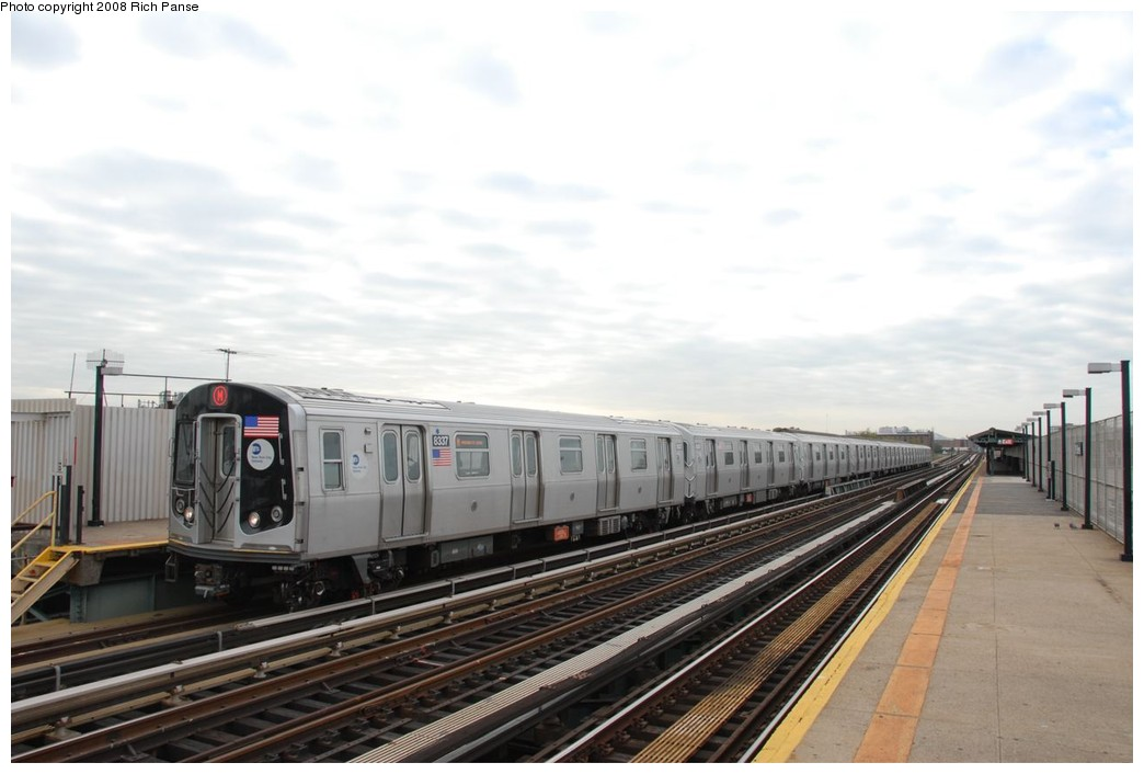 (166k, 1044x706)<br><b>Country:</b> United States<br><b>City:</b> New York<br><b>System:</b> New York City Transit<br><b>Line:</b> BMT West End Line<br><b>Location:</b> 79th Street <br><b>Route:</b> M<br><b>Car:</b> R-160A-1 (Alstom, 2005-2008, 4 car sets)  8337 <br><b>Photo by:</b> Richard Panse<br><b>Date:</b> 9/30/2008<br><b>Viewed (this week/total):</b> 0 / 1040