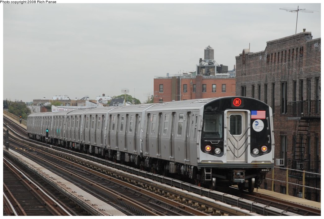 (203k, 1044x706)<br><b>Country:</b> United States<br><b>City:</b> New York<br><b>System:</b> New York City Transit<br><b>Line:</b> BMT West End Line<br><b>Location:</b> 79th Street <br><b>Route:</b> M<br><b>Car:</b> R-160A-1 (Alstom, 2005-2008, 4 car sets)  8341 <br><b>Photo by:</b> Richard Panse<br><b>Date:</b> 9/30/2008<br><b>Viewed (this week/total):</b> 3 / 1131