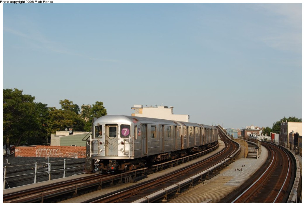 (140k, 1044x706)<br><b>Country:</b> United States<br><b>City:</b> New York<br><b>System:</b> New York City Transit<br><b>Line:</b> IRT Flushing Line<br><b>Location:</b> 103rd Street/Corona Plaza <br><b>Route:</b> 7<br><b>Car:</b> R-62A (Bombardier, 1984-1987)  1701 <br><b>Photo by:</b> Richard Panse<br><b>Date:</b> 9/24/2008<br><b>Viewed (this week/total):</b> 3 / 1084