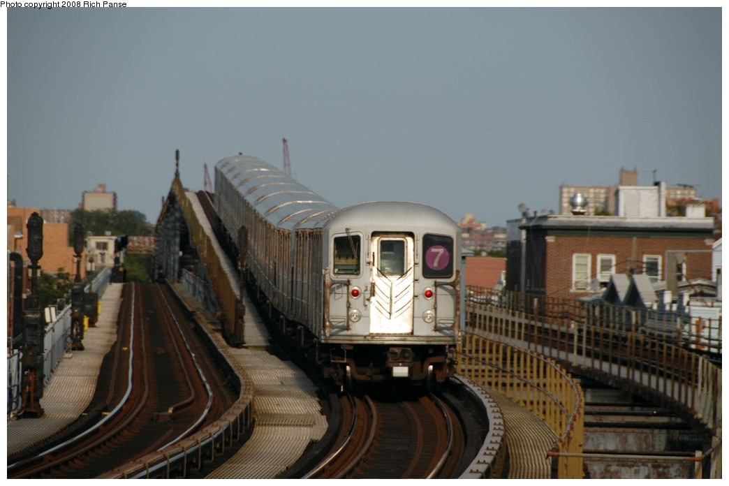 (134k, 1044x696)<br><b>Country:</b> United States<br><b>City:</b> New York<br><b>System:</b> New York City Transit<br><b>Line:</b> IRT Flushing Line<br><b>Location:</b> 103rd Street/Corona Plaza <br><b>Route:</b> 7<br><b>Car:</b> R-62A (Bombardier, 1984-1987)   <br><b>Photo by:</b> Richard Panse<br><b>Date:</b> 9/24/2008<br><b>Viewed (this week/total):</b> 4 / 962