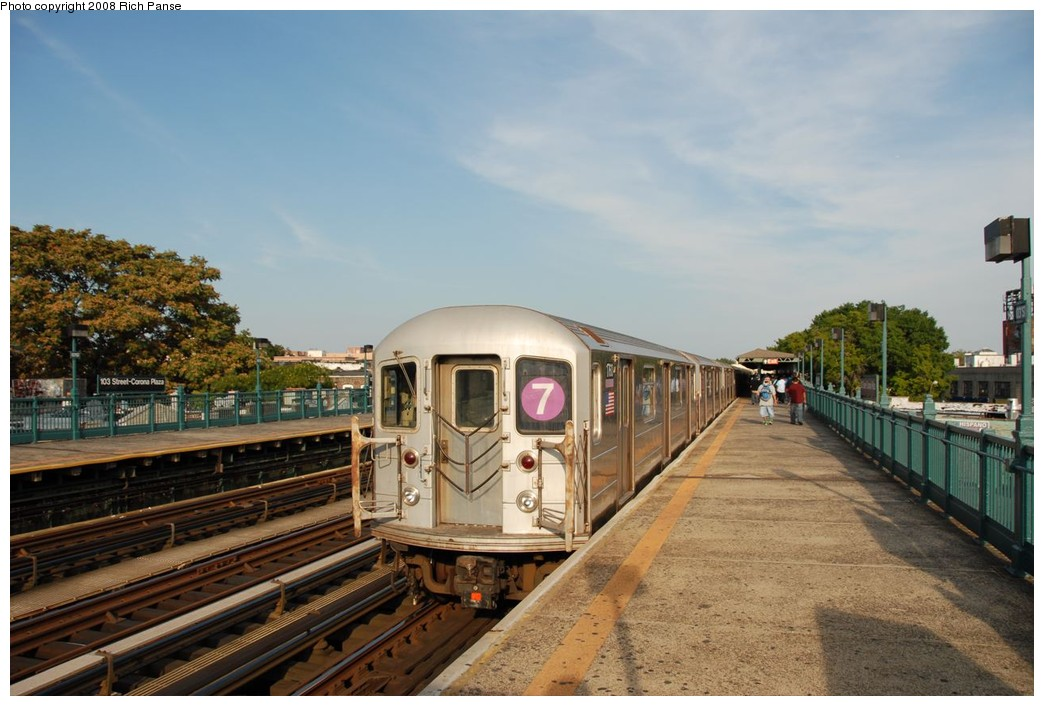 (201k, 1044x706)<br><b>Country:</b> United States<br><b>City:</b> New York<br><b>System:</b> New York City Transit<br><b>Line:</b> IRT Flushing Line<br><b>Location:</b> 103rd Street/Corona Plaza <br><b>Route:</b> 7<br><b>Car:</b> R-62A (Bombardier, 1984-1987)  1760 <br><b>Photo by:</b> Richard Panse<br><b>Date:</b> 9/24/2008<br><b>Viewed (this week/total):</b> 1 / 1247
