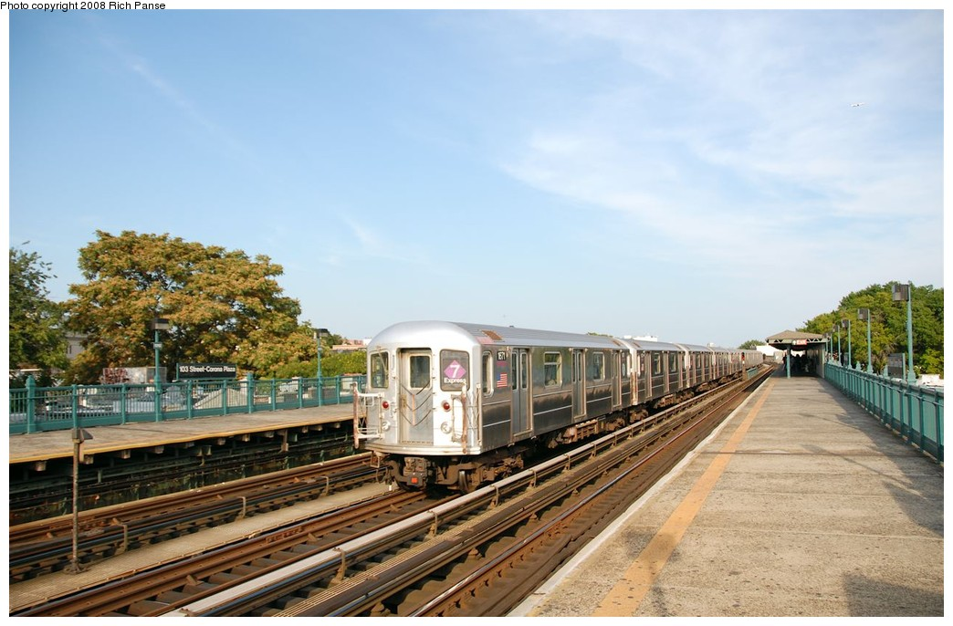 (181k, 1044x686)<br><b>Country:</b> United States<br><b>City:</b> New York<br><b>System:</b> New York City Transit<br><b>Line:</b> IRT Flushing Line<br><b>Location:</b> 103rd Street/Corona Plaza <br><b>Route:</b> 7<br><b>Car:</b> R-62A (Bombardier, 1984-1987)  1671 <br><b>Photo by:</b> Richard Panse<br><b>Date:</b> 9/24/2008<br><b>Viewed (this week/total):</b> 1 / 551