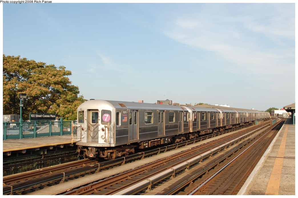(177k, 1044x694)<br><b>Country:</b> United States<br><b>City:</b> New York<br><b>System:</b> New York City Transit<br><b>Line:</b> IRT Flushing Line<br><b>Location:</b> 103rd Street/Corona Plaza <br><b>Route:</b> 7<br><b>Car:</b> R-62A (Bombardier, 1984-1987)  1695 <br><b>Photo by:</b> Richard Panse<br><b>Date:</b> 9/24/2008<br><b>Viewed (this week/total):</b> 6 / 631