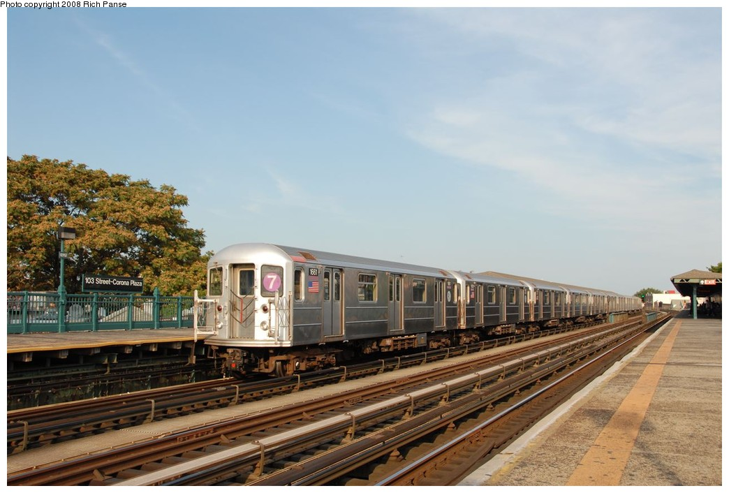 (169k, 1044x706)<br><b>Country:</b> United States<br><b>City:</b> New York<br><b>System:</b> New York City Transit<br><b>Line:</b> IRT Flushing Line<br><b>Location:</b> 103rd Street/Corona Plaza <br><b>Route:</b> 7<br><b>Car:</b> R-62A (Bombardier, 1984-1987)  1661 <br><b>Photo by:</b> Richard Panse<br><b>Date:</b> 9/24/2008<br><b>Viewed (this week/total):</b> 3 / 619