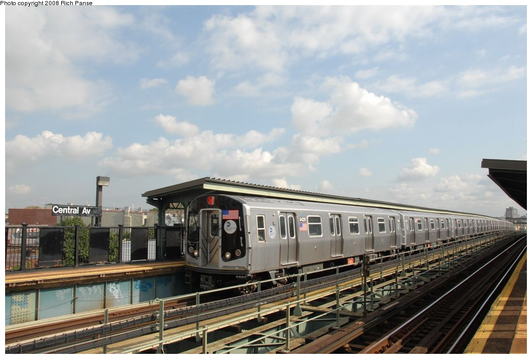 (190k, 1044x706)<br><b>Country:</b> United States<br><b>City:</b> New York<br><b>System:</b> New York City Transit<br><b>Line:</b> BMT Myrtle Avenue Line<br><b>Location:</b> Central Avenue <br><b>Route:</b> M<br><b>Car:</b> R-160A-1 (Alstom, 2005-2008, 4 car sets)  8429 <br><b>Photo by:</b> Richard Panse<br><b>Date:</b> 9/30/2008<br><b>Viewed (this week/total):</b> 0 / 944